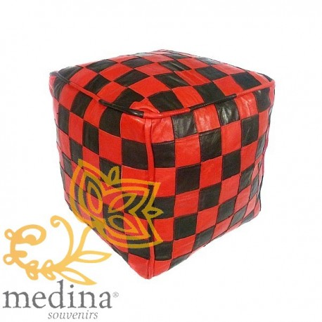 Red and black leather pouf design tiles