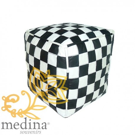 Black and White Leather pouf design tiles