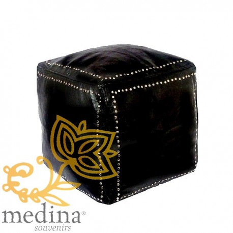 Black square Ottoman leather silver buttons