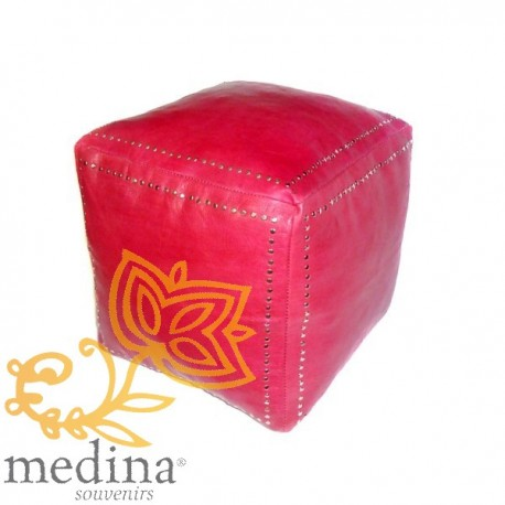 Red square Ottoman leather silver buttons