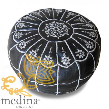 Moroccan pouf design arcade black and White Leather Ottoman in genuine leather handmade