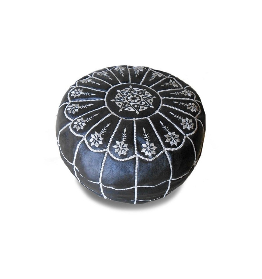 pouf marocain design arcade en cuir noir et blanc un pouf enti rement en cuir fabriqu et cosu. Black Bedroom Furniture Sets. Home Design Ideas