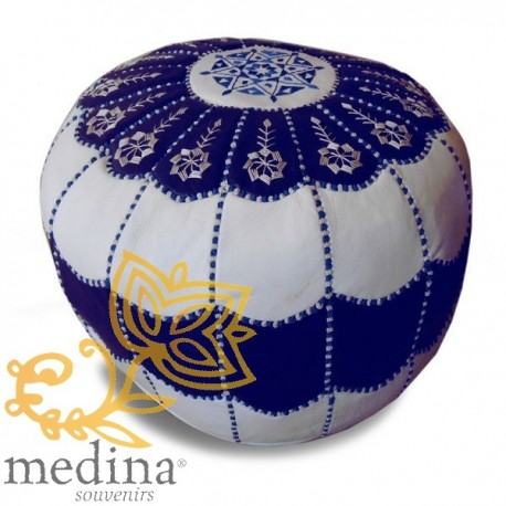 Moroccan pouf design arcade blue and White Leather Ottoman in genuine leather handmade