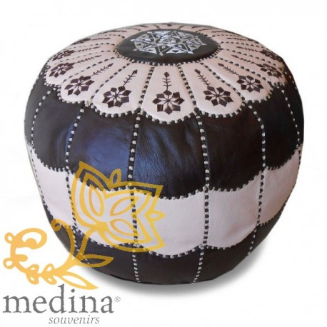 Moroccan pouf design arcade Brown and cream leather Pouffe leather handmade
