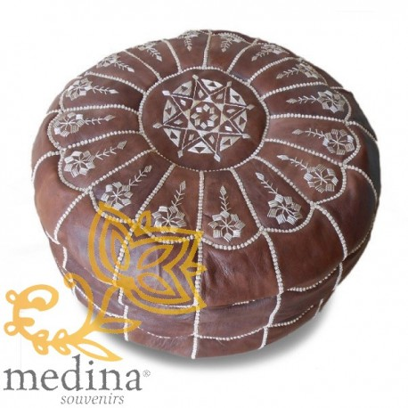Moroccan pouf design arcade brown leather Ottoman in genuine leather handmade