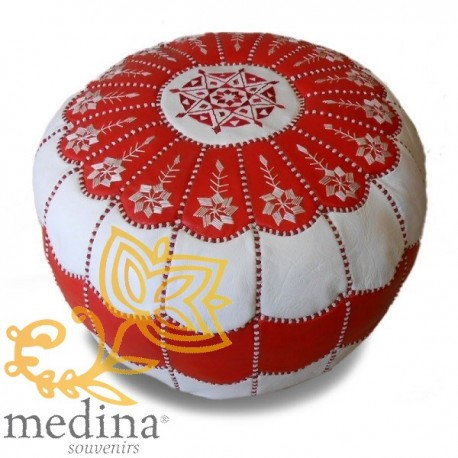 Moroccan pouf design arcade in red and white leather and white embroidery pouf genuine leather handmade