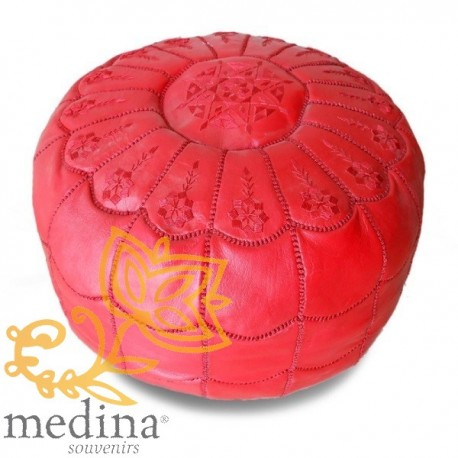 Ottoman Moroccan design arcade red embroidery leather red beanbag Chair real leather is hand