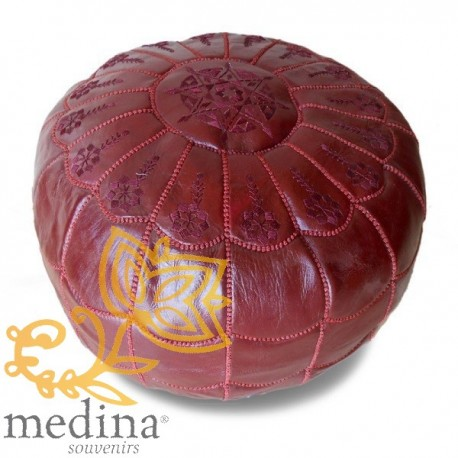 Poof Moroccan design arcade Burgundy embroidery pouf genuine leather Burgundy leather handmade
