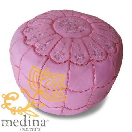 Poof Moroccan design arcade leather pink and pink embroidery pouf genuine leather handmade