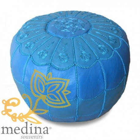 Poof Moroccan design arcade leather blue sky and sky blue embroidery pouf genuine leather handmade