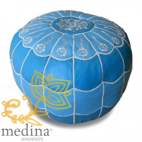 Poof Moroccan design arcade leather gradient blue and white embroidery pouf genuine leather handmade
