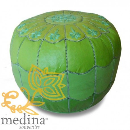 Poof Moroccan design arcade leather degraded green and green embroidery pouf genuine leather handmade