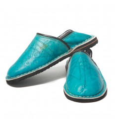 Babouche slippers turquoise mixed child Touareg comfortable and solid robust Moroccan slippers
