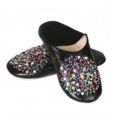 Real leather black Essaouira, Moroccan babouche slipper