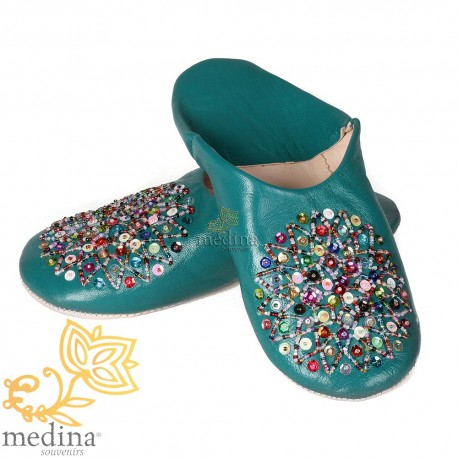 Real leather turquoise Essaouira, Moroccan babouche slipper