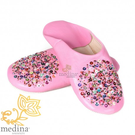 Genuine leather pink Essaouira, Moroccan babouche slipper