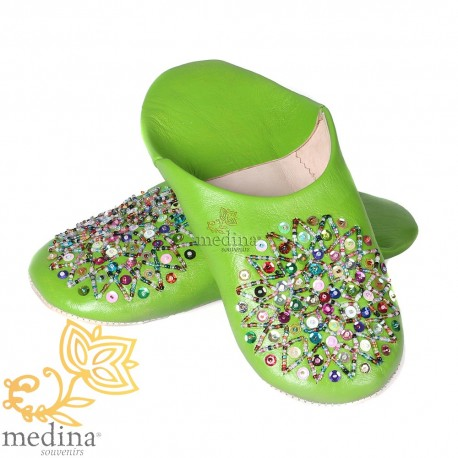 Pistachio Essaouira, Moroccan babouche slipper real leather
