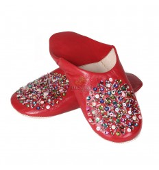 Real leather red Essaouira, Moroccan babouche slipper