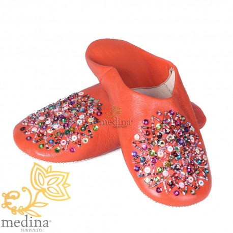 Real leather orange Essaouira, Moroccan babouche slipper