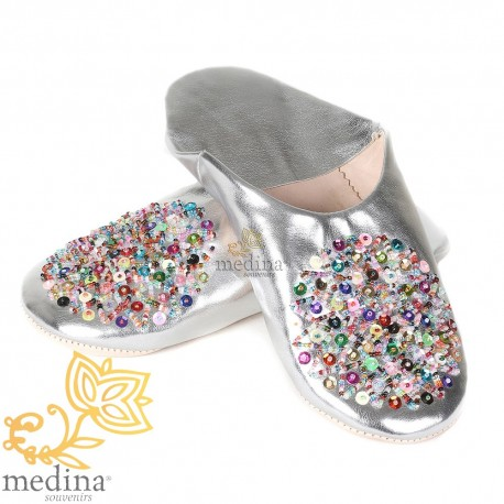 Real leather silver Essaouira, Moroccan babouche slipper