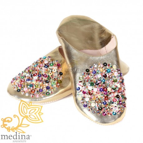 Essaouira color genuine leather gold, Moroccan babouche slipper