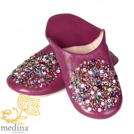 Essaouira fuschia, real leather Moroccan babouche slipper