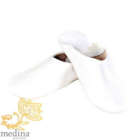 Slipper Kenza white Moroccan slipper in genuine leather, combination of comfort and elegance