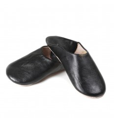 Kenza slipper black Moroccan slipper in genuine leather, combination of comfort and elegance