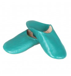Slipper turquoise Kenza, Moroccan slipper in genuine leather, combination of comfort and elegance