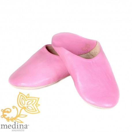 Slipper pink Kenza, Moroccan slipper in genuine leather, combination of comfort and elegance