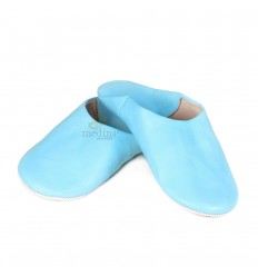 Slipper Kenza blue sky, Moroccan slipper in genuine leather, combination of comfort and elegance