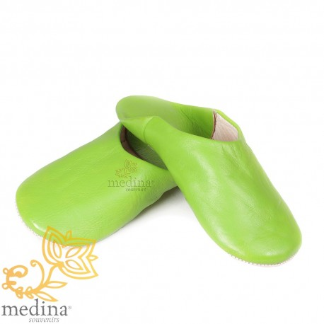 Slipper pistachio Kenza, Moroccan slipper in genuine leather, combination of comfort and elegance
