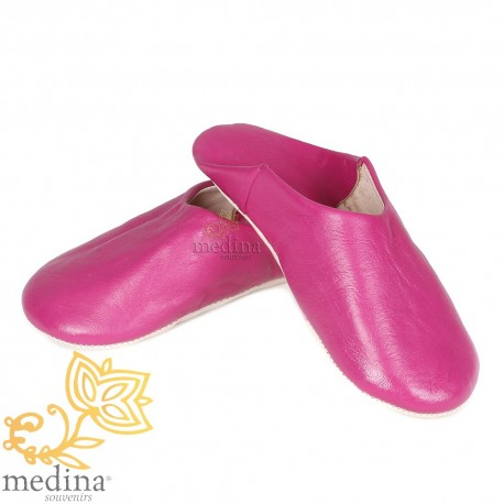 Slipper Kenza fuschia, Moroccan slipper in genuine leather, combination of comfort and elegance