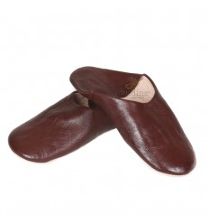 Slipper Brown Kenza, Moroccan slipper in genuine leather, combination of comfort and elegance