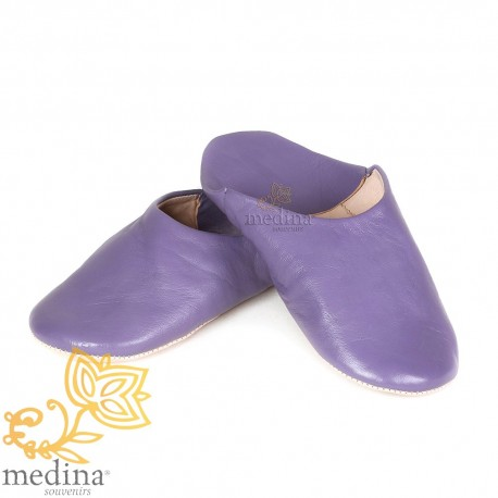 Slipper Lavender Kenza, Moroccan slipper in genuine leather, combination of comfort and elegance