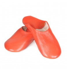 Slipper orange Kenza, Moroccan slipper in genuine leather, combination of comfort and elegance