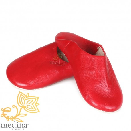 Slipper red Kenza, Moroccan slipper in genuine leather, combination of comfort and elegance