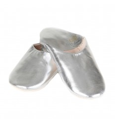 Silver Kenza, Moroccan Babouche slipper in genuine leather, combination of comfort and elegance