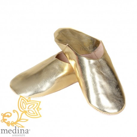 Slipper color gold Kenza, Moroccan slipper in genuine leather, combination of comfort and elegance