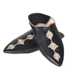 Fez slipper black pointy end and silk embroideries