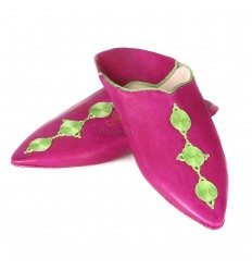 Fez slipper pink pointy end in real leather and silk embroideries