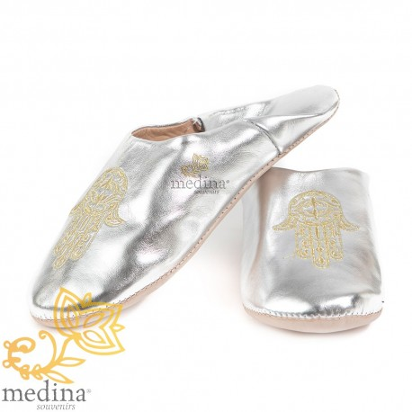 Slipper Moroccan hand of Fatima and silvery