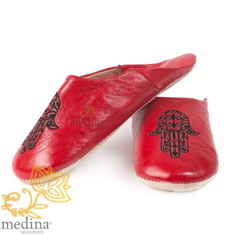 Slipper Moroccan hand of Fatima Red