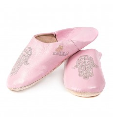 Slipper pink Moroccan hand of Fatima