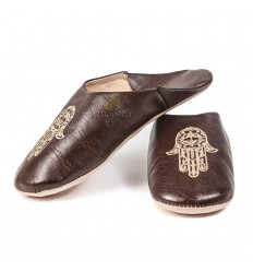 Slipper Moroccan hand of Fatima Brown