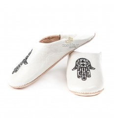 Slipper Moroccan hand of Fatima white