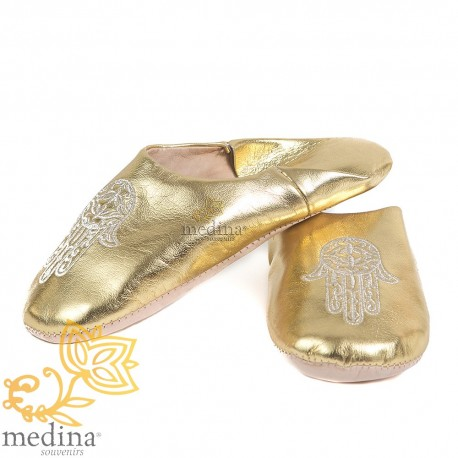 Slipper Moroccan smile gold