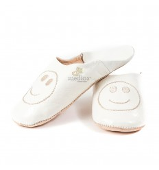 Slipper Moroccan white smile