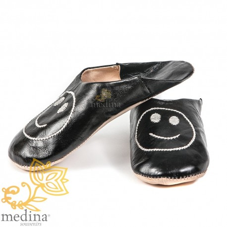 Slipper Moroccan black smile