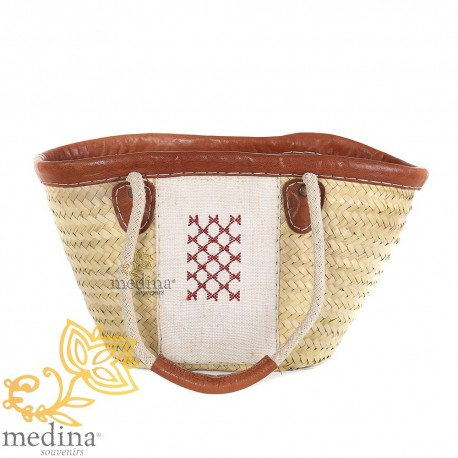Basket wicker and leather pattern chergui
